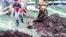 La Municipalidad retiró un tronco que obstruía el desagüe principal del Parque Camba Cuá