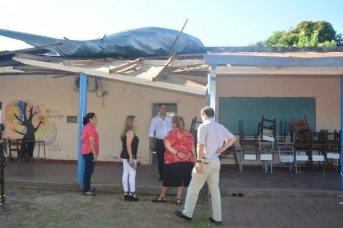 Educación recorrió escuelas afectadas por la cola de un tornado que provocó destrozos
