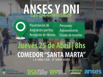 En el barrio Santa Marta, contarán con ANSES y DNI en Tu Comedor